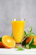 Glass of orange juice with oranges fruit on wooden table. Summer drink.