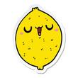 sticker of a cartoon happy lemon