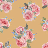 Watercolor rose floral vector pattern - 252780334