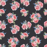 Watercolor rose floral vector pattern - 252780532