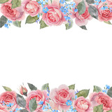 Watercolor rose floral vector frame - 252780781