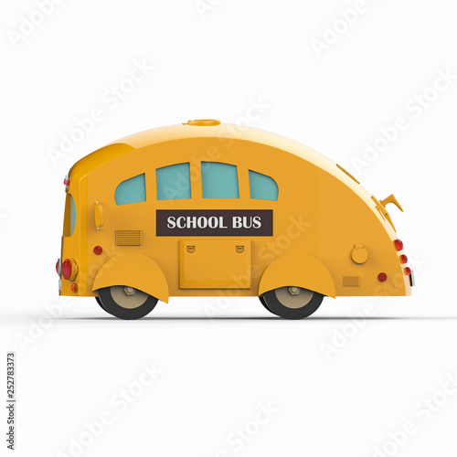 Yellow school bus on white background. 3d render © Yevhen
