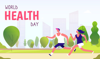 World health day background. Healthy lifestyle man woman fitness fun runner healthcare global medicine holiday vector concept. Runner health sport, fitness exercise activity illustration