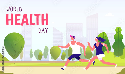 World health day background. Healthy lifestyle man woman fitness fun runner healthcare global medicine holiday vector concept. Runner health sport, fitness exercise activity illustration © MicroOne