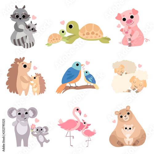 Cute Animal Families Set, Raccoon, Turtle, Pig, Hedgehog, Bird, Sheep, Koala, Flamingo, Bear Vector Illustration