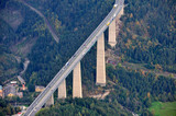 flying over bridge europabrücke, brennerautobahn, tyrol, austria