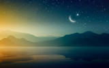 Ramadan Kareem background with crescent and stars