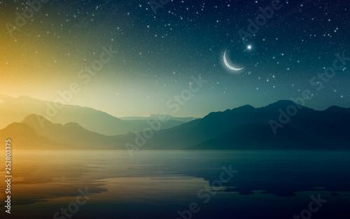 Leinwanddruck Bild Ramadan Kareem background with crescent and stars