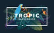 Tropical background with jungle plants. Frame with tropic bird and leaves, can be used as Exotic wallpaper, Greeting card, poster, placard. Vector Illustration - 252808931