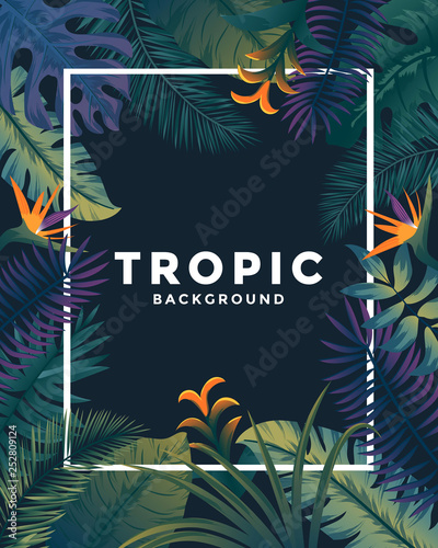 Tropical background with jungle plants. Frame with tropic leaves, can be used as Exotic wallpaper, Greeting card, poster, placard. Vector Illustration © darkovujic