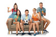 Leinwandbild Motiv entertainment, leisure and people concept - group of happy smiling friends or football fans with soccer ball sitting on sofa with non alcoholic drinks over white background