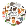 Flat Zoo Animals Round Concept