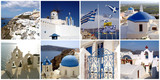 Travel photos collage of Santorini, Cyclades island, Greece