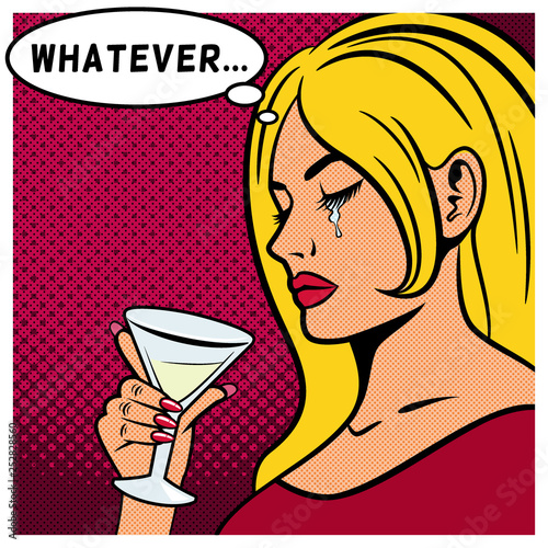 Attractive young woman drinking martini. A beautiful woman is sad and crying. Illustration for a book or magazine. © oksanacofee