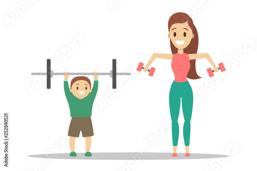 Parents and children doing workout in gym - 252840521