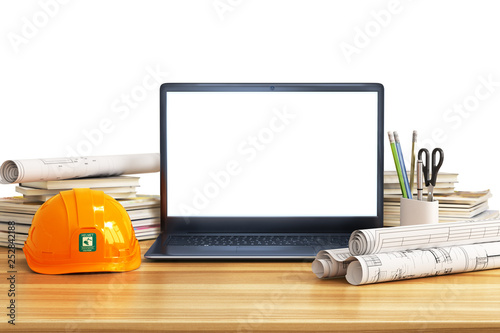 Building. Opened laptop with drawing project for architectural design. 3d illustration - 252842188