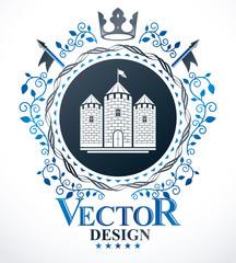 Vintage decorative emblem composition, heraldic vector.