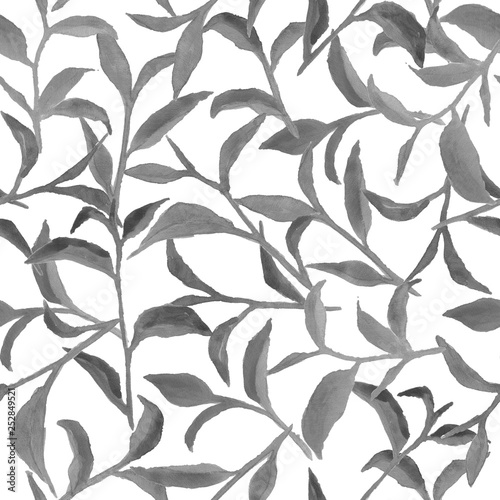 Watercolor pattern with gray leaves © Оксана Чернобаева
