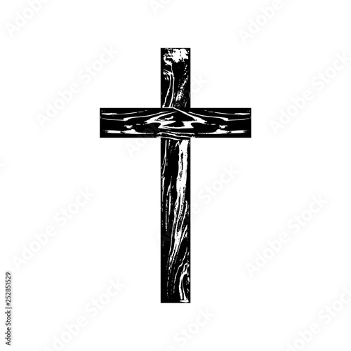 Wooden cross on a white background © sljubisa