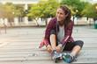 Leinwanddruck Bild - Woman wearing sport shoes