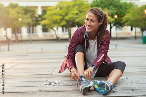 Leinwanddruck Bild Woman wearing sport shoes