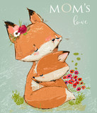 cute mom fox with her kid. Vector illustration