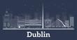 Outline Dublin Ireland City Skyline with White Buildings. - 252863397