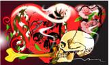 skull danger and rock  hearts flower design