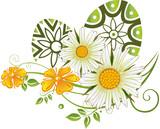 Ostern Ostereier Margeriten Ranke Blumen Frühling. Ranke mit Margeriten, Blumen, Blüten und Blättern. Bunte Frühlingsblumen mit Margeriten. Tolles Geschenk zu Ostern und im Frühling.