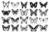 Hand drawn butterflies collection - 252869168