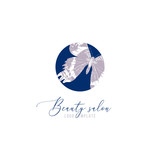 Beauty salon logo template with hand drawn butterfly - 252869175