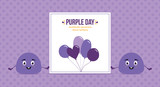Cute vector cartoon style blob characters holding card, informing about Purple Day, worldwide awereness about epilepsy. - 252873112