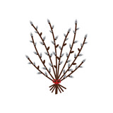 Vector cartoon illustration of willow branches in bouquet isolated on white background. - 252873126
