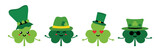 Set, collection of cute clover, shamrock cartoon characters smiling, having fun in green leprechaun hats. - 252873148