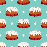 Vector seamless pattern background for Orthodox Easter Day with easter cake called kulich and eggs. - 252873197