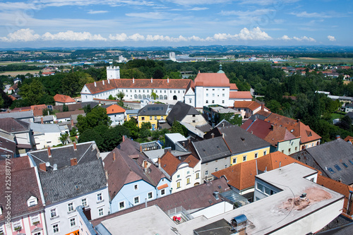 ennseg castle, view from clocktower, enns, austria - 252887974