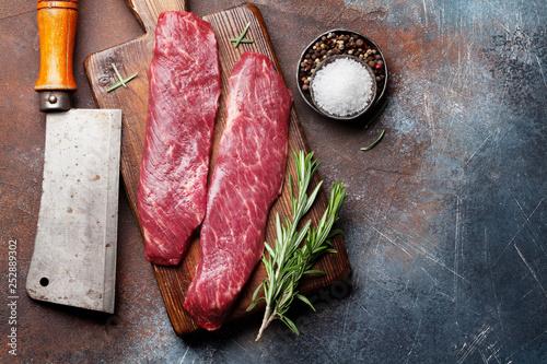 Leinwandbild Motiv Raw top blade or denver steak