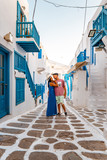 Mykonos Greece Island, young couple on vacation in Greece