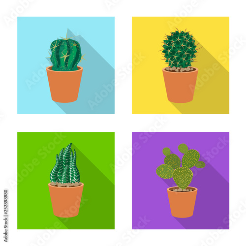Vector illustration of cactus and pot sign. Set of cactus and cacti vector icon for stock.