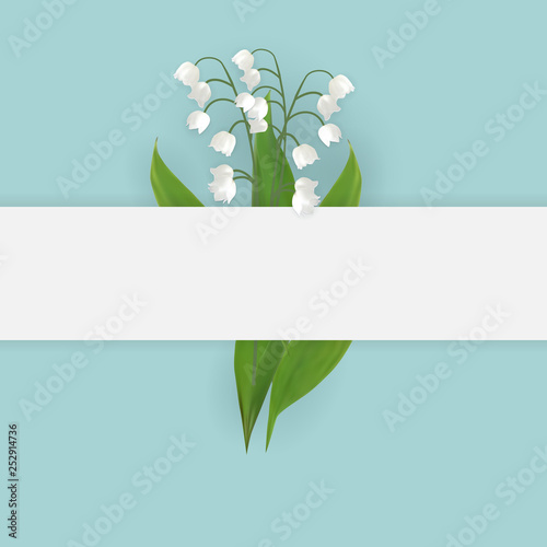 Colorful naturalistic blooming lily of the valley backgroud. Vector Illustration - 252914736