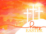 Easter background design of three white crosses on watercolor sunrise background with Happy Easter typography written in orange and gold, Religious Christian holiday design