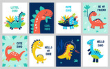 Fototapeta Dinusie - Set baby print with Dino. Can be used for poster, card, banner, flyer. Hand drawn vector © 210484kate
