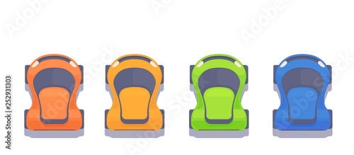 Set of sport modern top view race car. Vector flat style illustration.