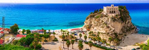 Leinwanddruck Bild  Calabria, Tropea -view of church  Santa Maria del'isola and great beach. Italy