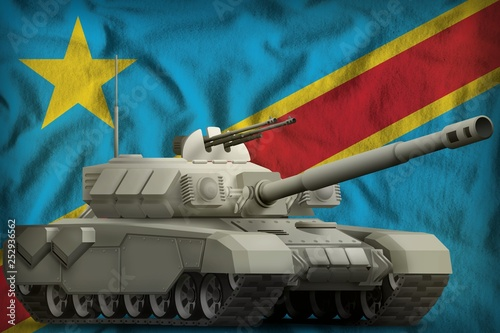 heavy tank on the Democratic Republic of Congo national flag background. 3d Illustration © Антон Медведев