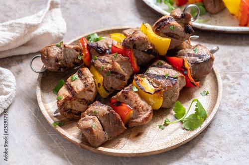 Leinwandbild Motiv Grilled shish kebab or shashlik with pepper vegetable on a stick
