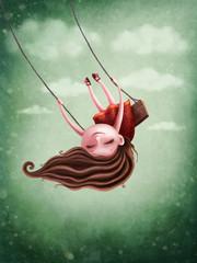Little fairy girl swingig