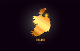 Ireland country border map in gold golden metal color design
