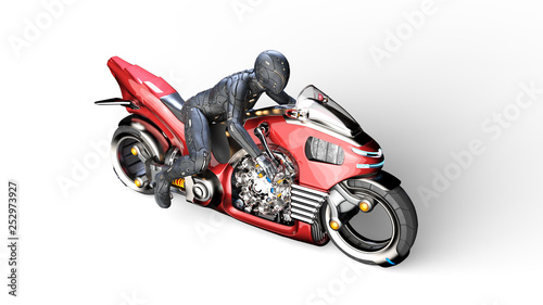 Biker girl with helmet riding a sci-fi bike, woman on red futuristic motorcycle isolated on white background, top view, 3D rendering