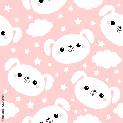 fototapeta na ścianę White dog face. Seamless Pattern. Cloud star in the sky. Cute cartoon kawaii funny smiling baby character. Wrapping paper, textile template. Nursery decoration. Pink background. Flat design